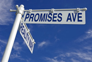 street post with promises ave and reality way signs