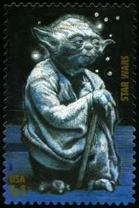 UNITED STATES - CIRCA 2007: US Postage stamp depicting the Star Wars character Yoda, circa 2007.