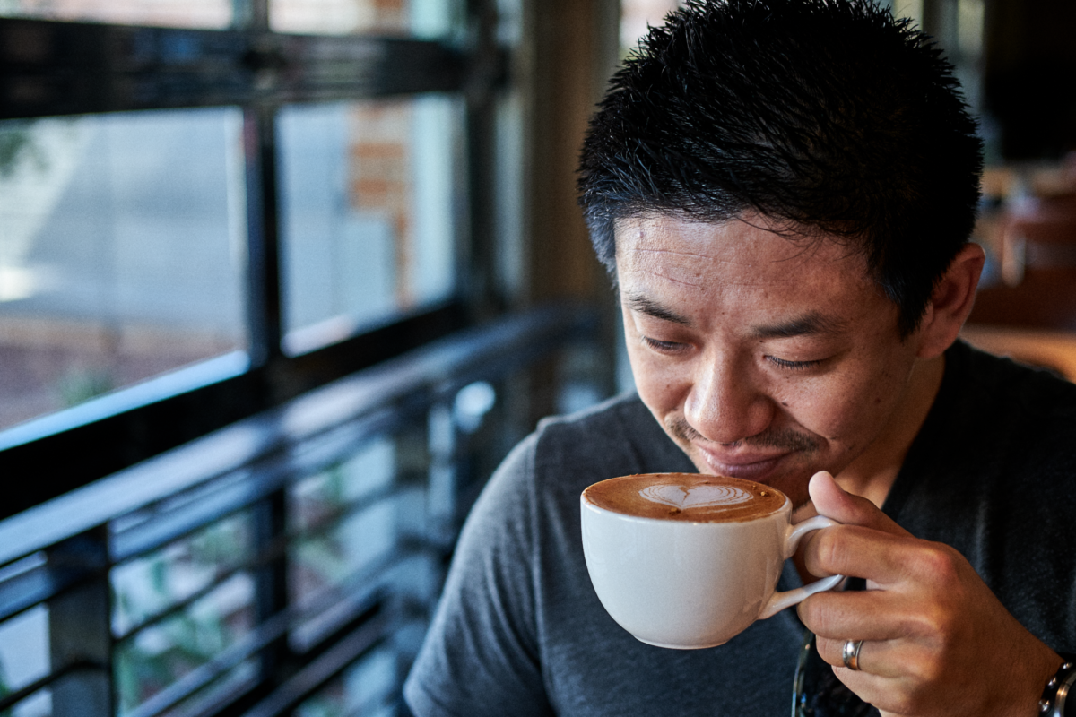 Ben Fung enjoying coffee drink
